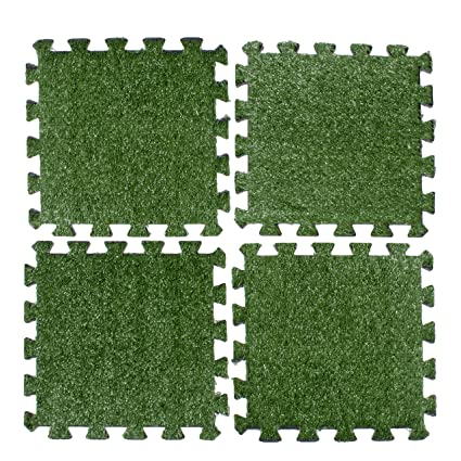 Amazon.com: Above Edge Interlocking Grass Deck Tiles: Square ...