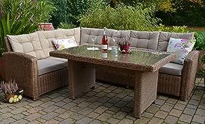 Bomey Conjunto Lounge I Muebles de Jardín (ratán Set Manhattan de 2 piezas I Jardín sofá + mesa + acolchado I Natural Marrón I Dining Lounge ratán para jardín + Terraza +
