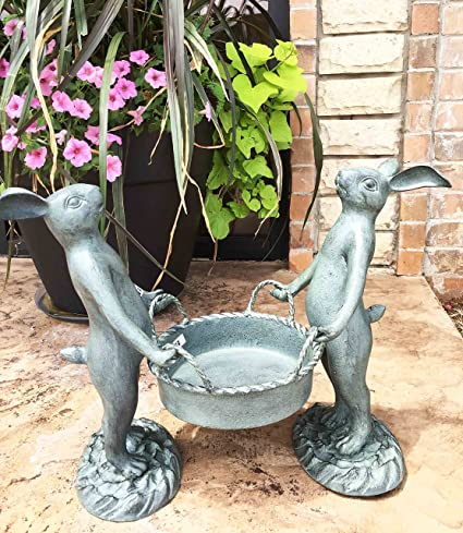 Whimsical Hardworking Bunny Rabbit Gardeners Flower Pot Planter Holder  Garden Decor Aluminum Statue For Pool Patio