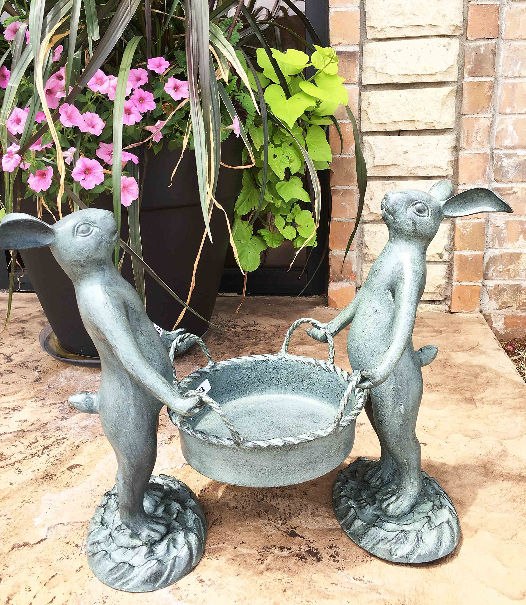 Whimsical Hardworking Bunny Rabbit Gardeners Flower Pot Planter Holder Garden Decor Aluminum Statue For Pool Patio Decoration Functional Nature Outdoor by Gifts & Decors