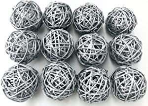 Fascola 5pcs Multi Colors Wicker Rattan Balls, Garden, Wedding, Party Decorative Crafts, Vase Fillers, Rabbits, Parrot, Bird Toys (Silver, 10CM)