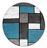 "Contemporary Modern Boxes Area Rug 6' 6"" Blue"