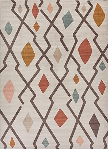 "Santa Ana Brown Yellow Red Blue Ivory Geometric Modern Kilim Style 8x11 7'10"" x 9'10"" Area Rug Multi Color Pattern"