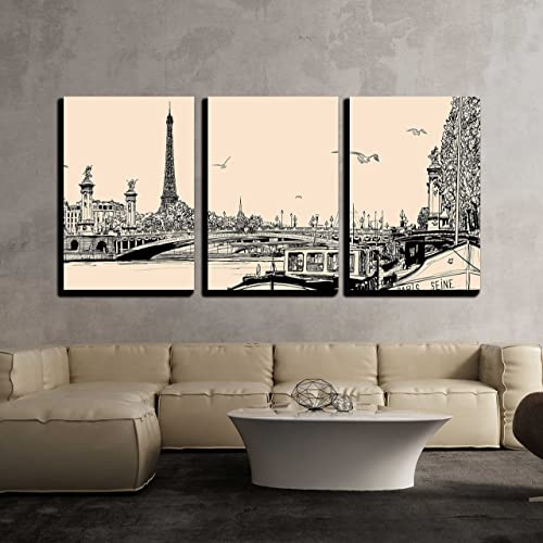 wall26 – 3 Piece Canvas Wall Art – Illustration of a View of Seine River in Paris with Barges and Eiffel Tower – Modern Home Decor Stretched and Framed Ready to Hang – 16 x24 x3 Panels