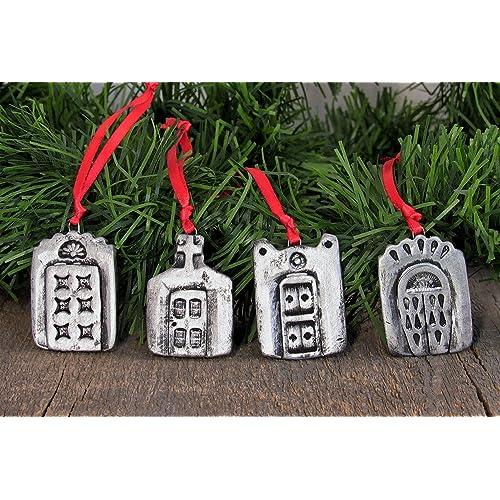 15 christmas tree ornaments mini taos doors southwest santa fe style handmade ceramic clay miniature