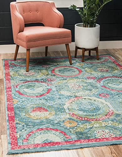 Unique Loom Baracoa Collection Bright Tones Vintage Traditional Turquoise Area Rug 10' 0 x 13' 0