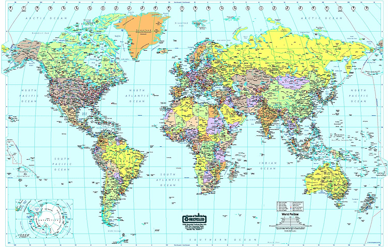 House of Doolittle Write On/Wipe Off Laminated World Map 38 x 25 Inch (HOD711)