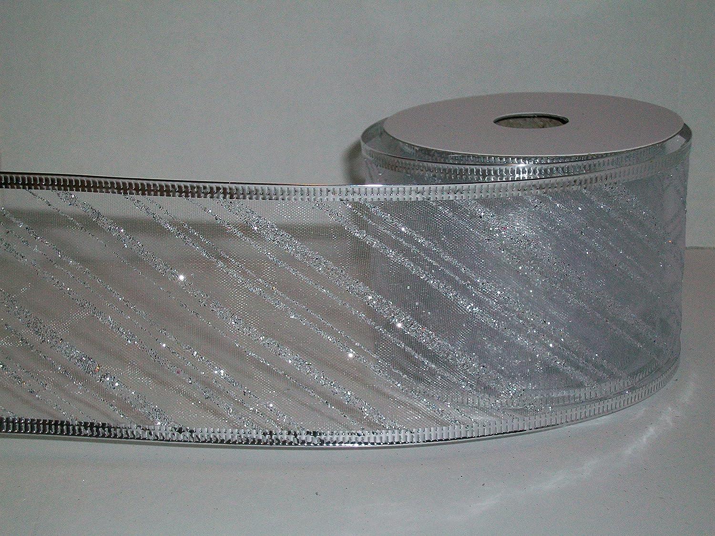 "5 Yds Christmas Metallic Silver Sheer Pinstripe Edge Wired Ribbon 1 1//2/""W"