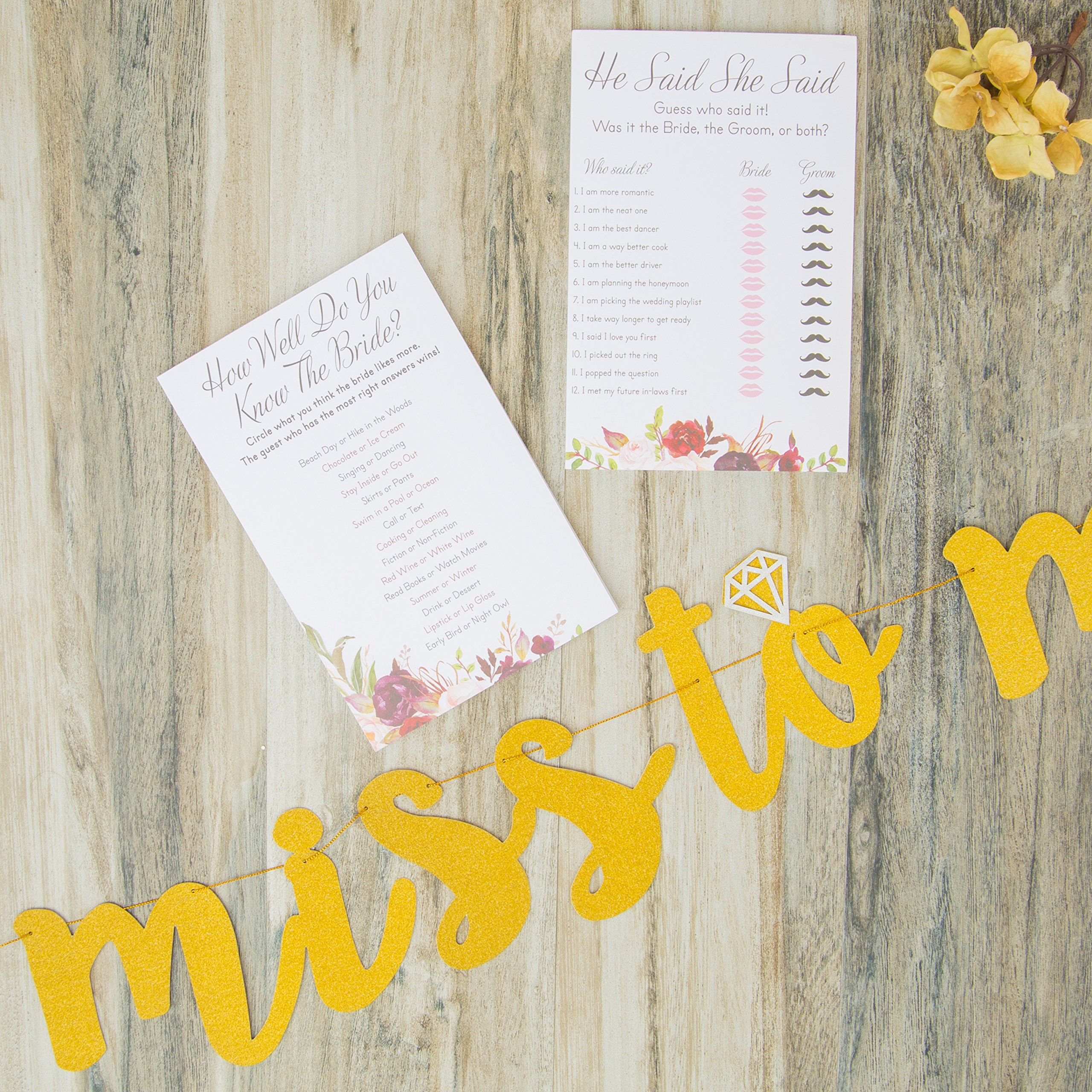 Bridal Shower Games pack with Bonus Miss to Mrs Banner (GOLD), Dots and Wedding Advice Cards | 3 Games - What's On Your Phone, He Said She Said, How Well Do You Know The Bride(50 Sheets each) by Planet Mango (Image #4)