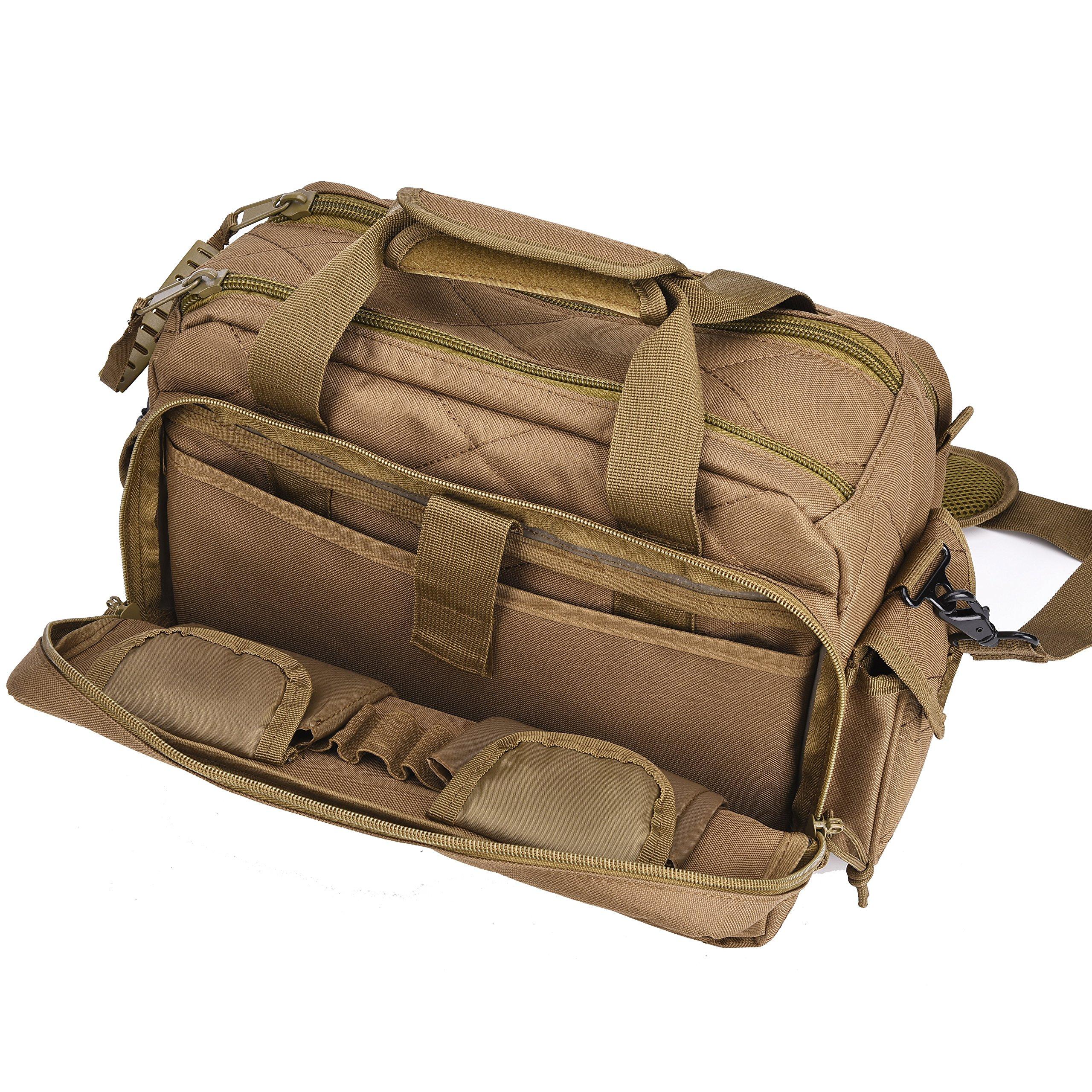 REEBOW TACTICAL Tactical Gun Range Bag Deluxe Pistol Shooting Range Duffle Bags Black by REEBOW TACTICAL (Image #4)