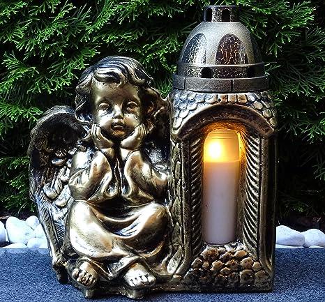 ? Grablaterne Grablampe Engel Massiv 30,0cm Bronze incl. Grablicht Grabkerze Grabschmuck Grabdekoration Grablicht Laterne Lam