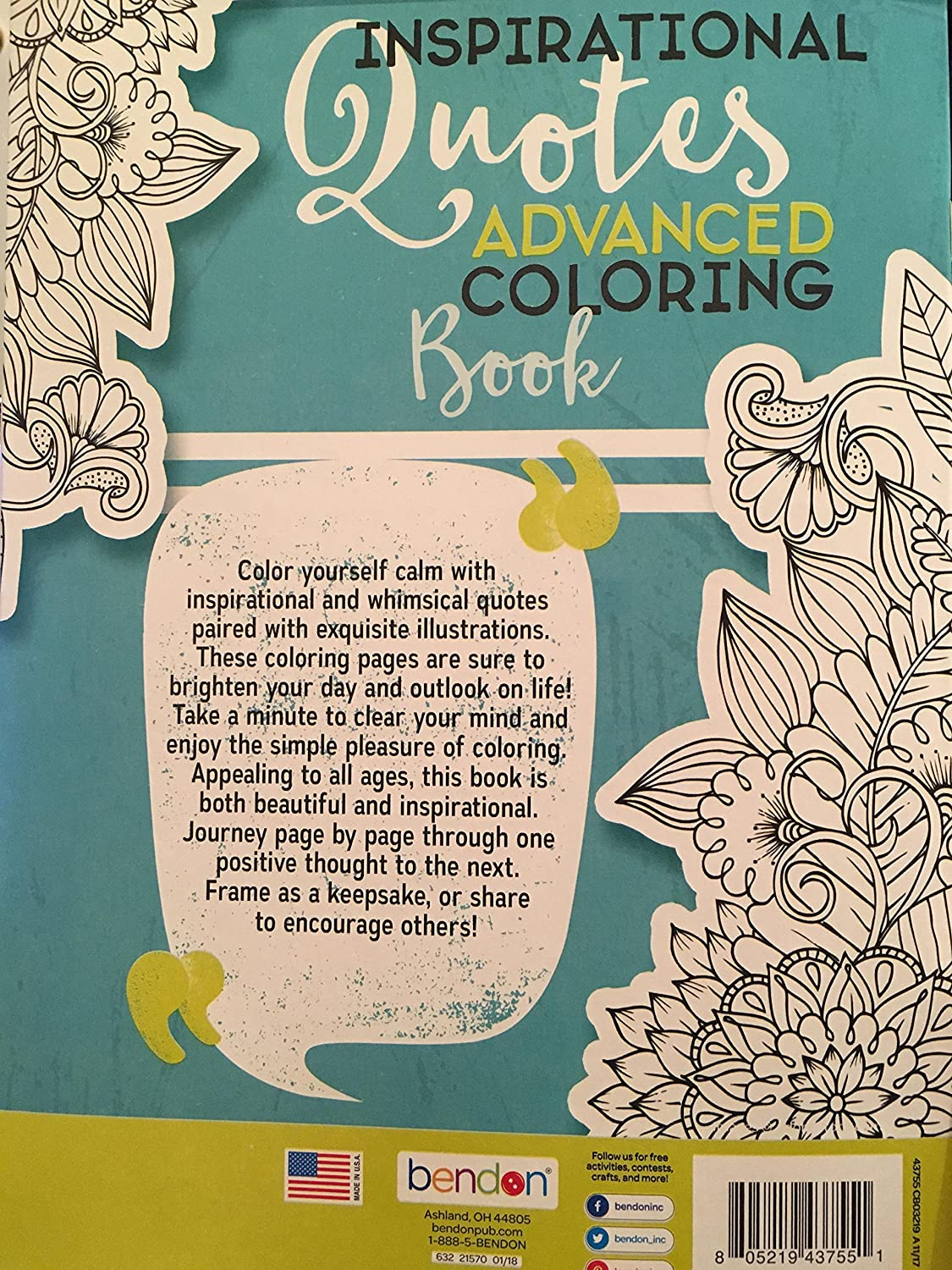 Inspirational Quotes Advanced Coloring Book