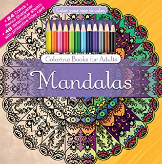 Mandalas Adult Coloring Book Set With 24 Colored Pencils And Pencil Sharpener Included Color Your