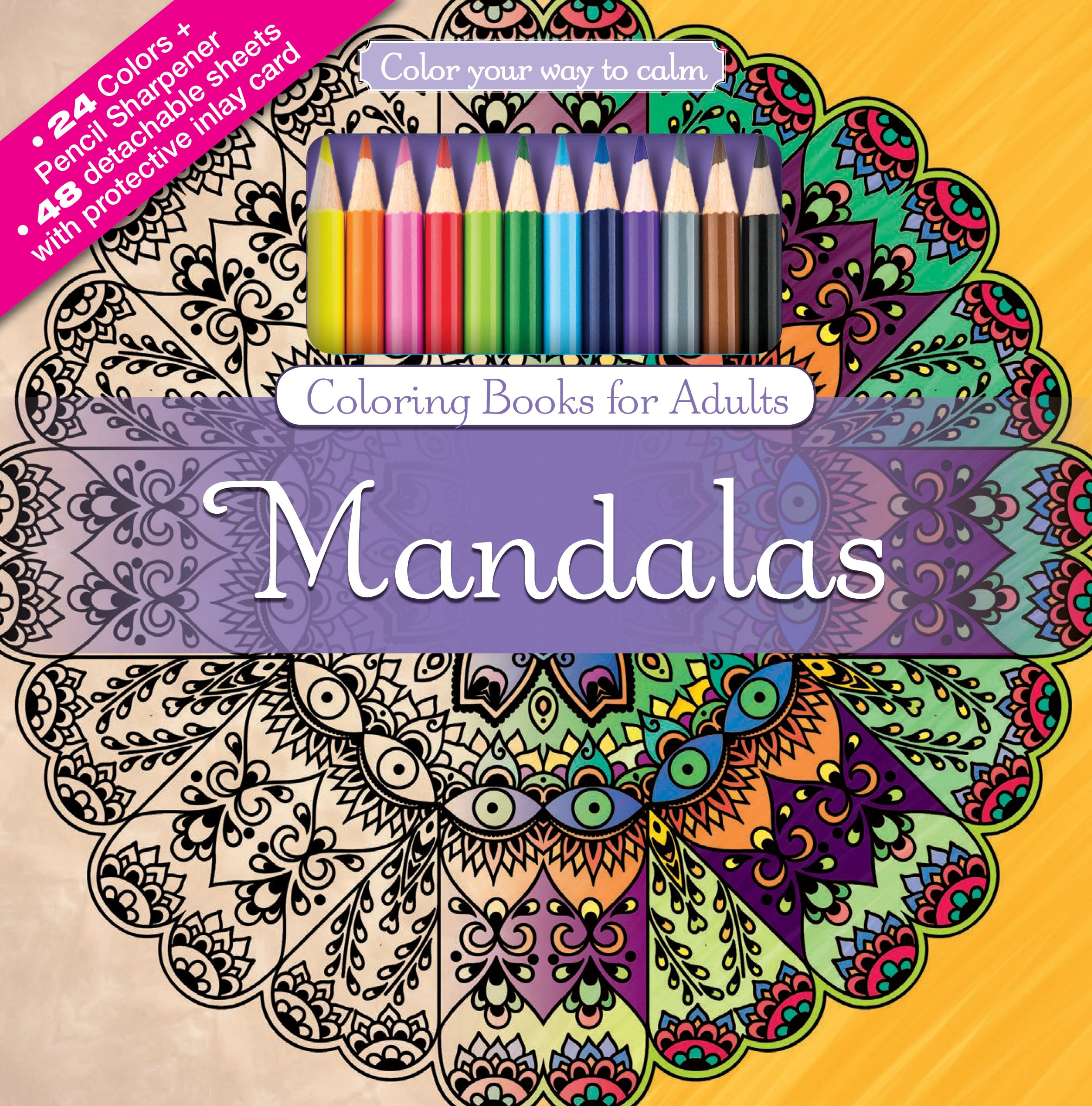 Amazon.com: Mandalas Adult Coloring Book Set With 24 Colored Pencils ...