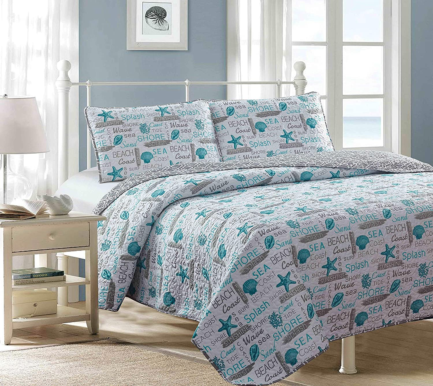 Sweet Home Collection 3 Piece Printed Quilt Set Decorative Unique Stylish Designs Soft and Luxurious Bedding with 2 Shams King Barbados-Linen