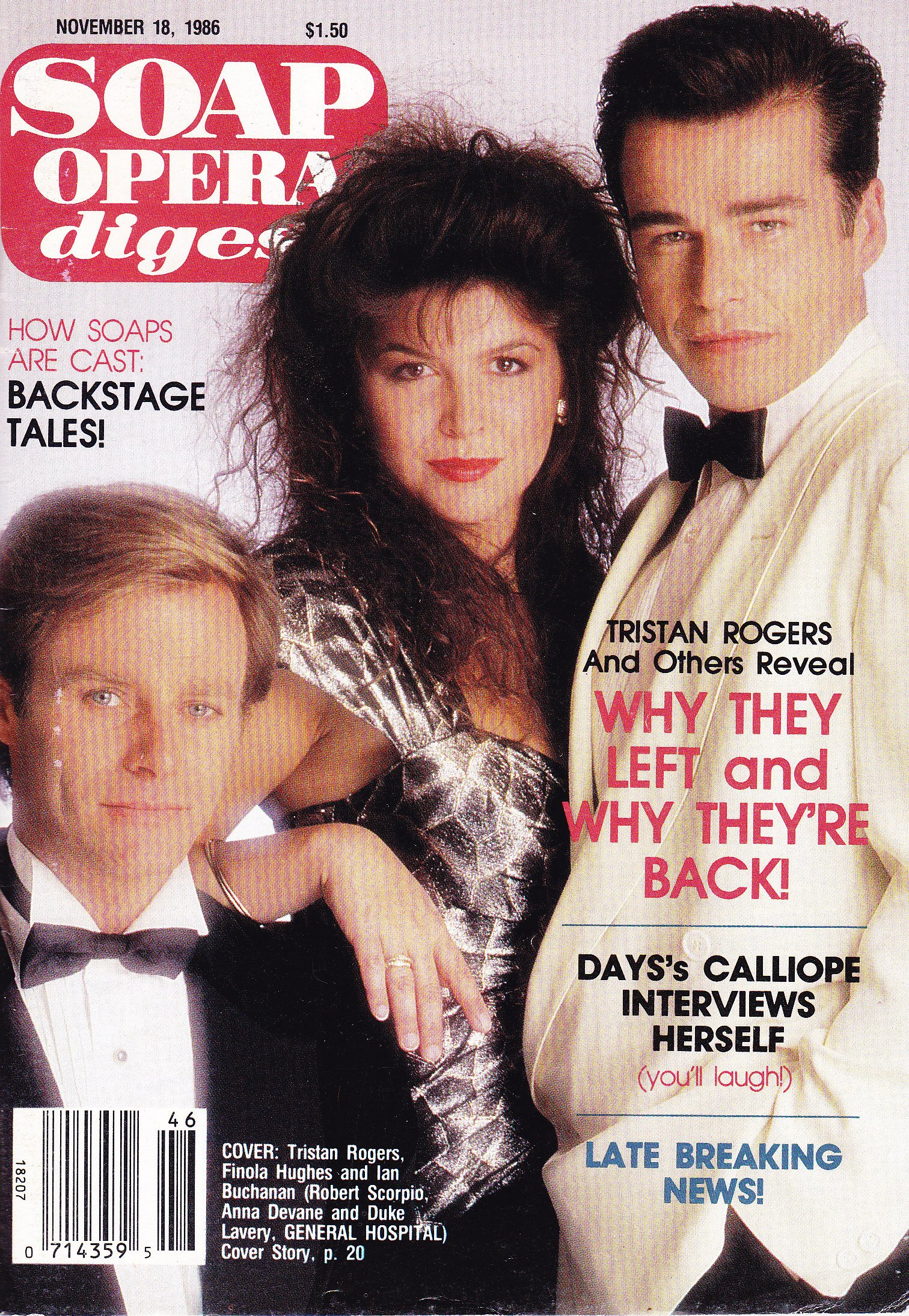 Tristan Rogers Finola Hughes And Ian Buchanan General Hospital Why They Left And Why They Re Back How Soaps Are Cast November 18 1986 Soap Opera Digest Magazine American Media Inc Amazon Com