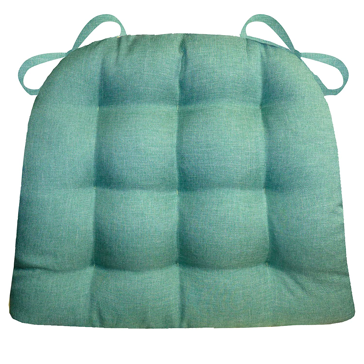 Barnett Products Dining Chair Pad with Ties - Hayden Turquoise Heathered Plain Weave - Extra-Large - Reversible, Latex Foam Filled Cushion, Machine Washable (Teal, Aqua)