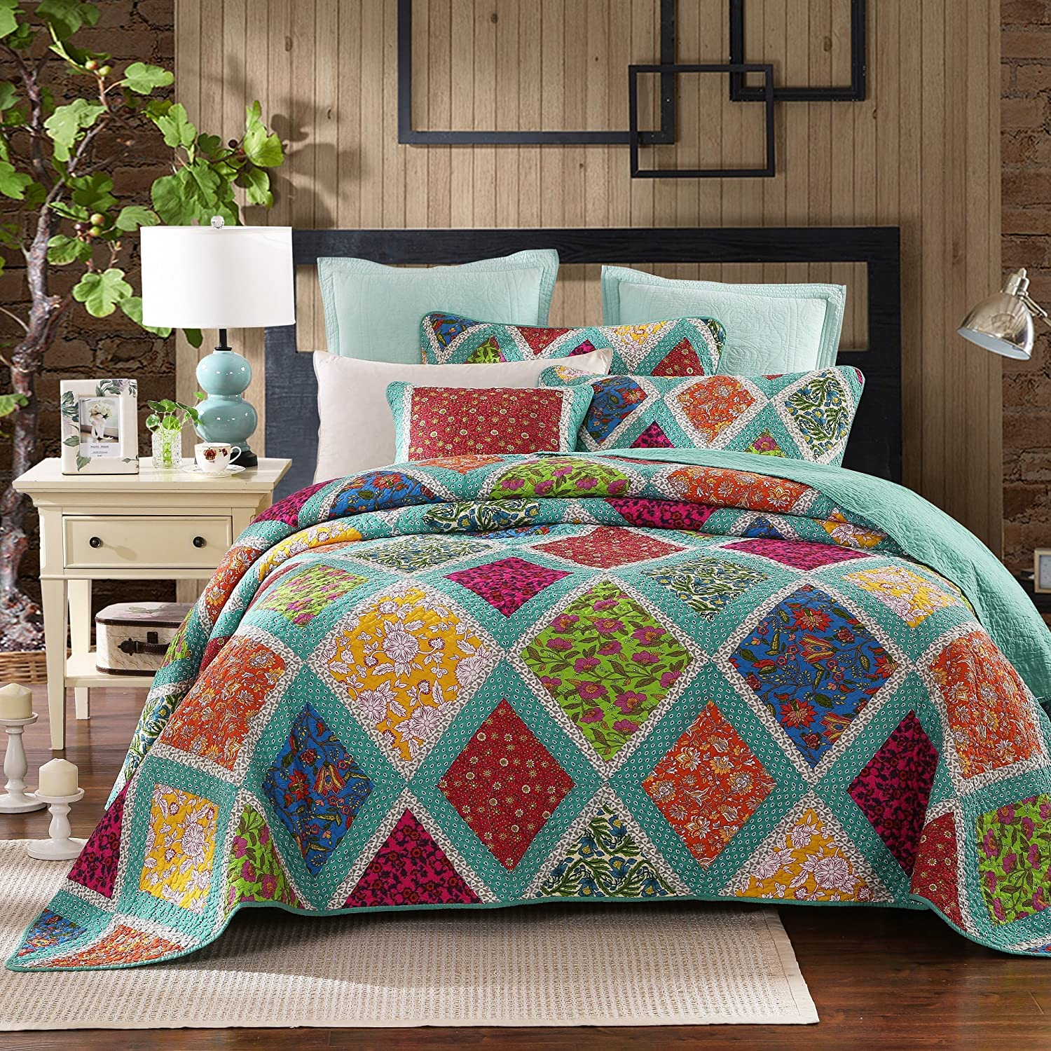 DaDa Bedding Collection Reversible Real Patchwork Cotton Fairy Forest Glade Floral Quilt Bedspread Set