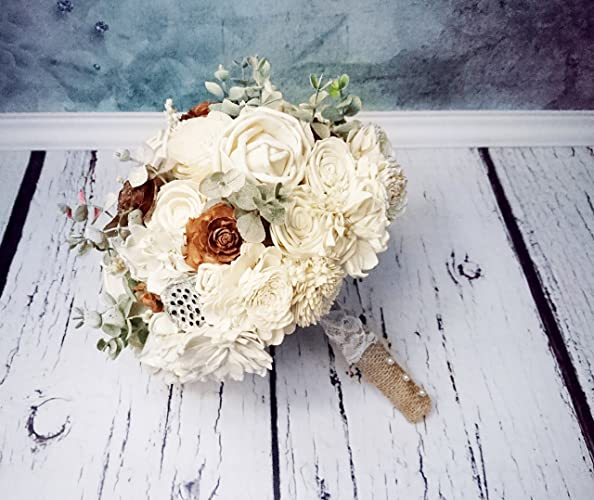 Amazon Com Bridal Ivory Brown Rustic Wedding Bouquet With