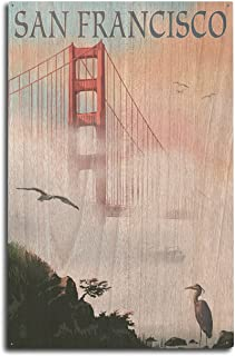 product image for Lantern Press San Francisco, California - Golden Gate Bridge in Fog (10x15 Wood Wall Sign, Wall Decor Ready to Hang)