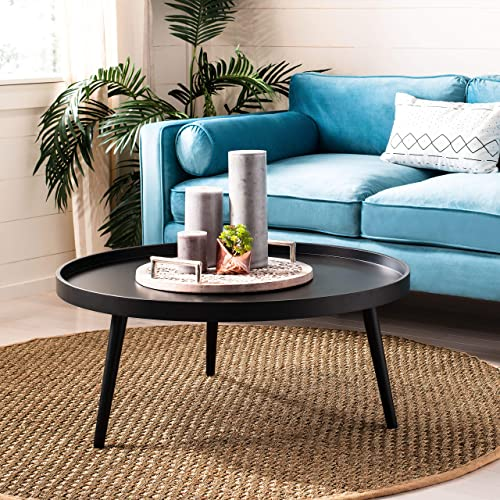 Safavieh Home Fritz Black Tray Top Round Coffee Table