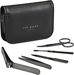 Ted Baker Mens Stainless Steel Manicure Brogue Monkian Kit With Faux Leather Travel and Storage Case