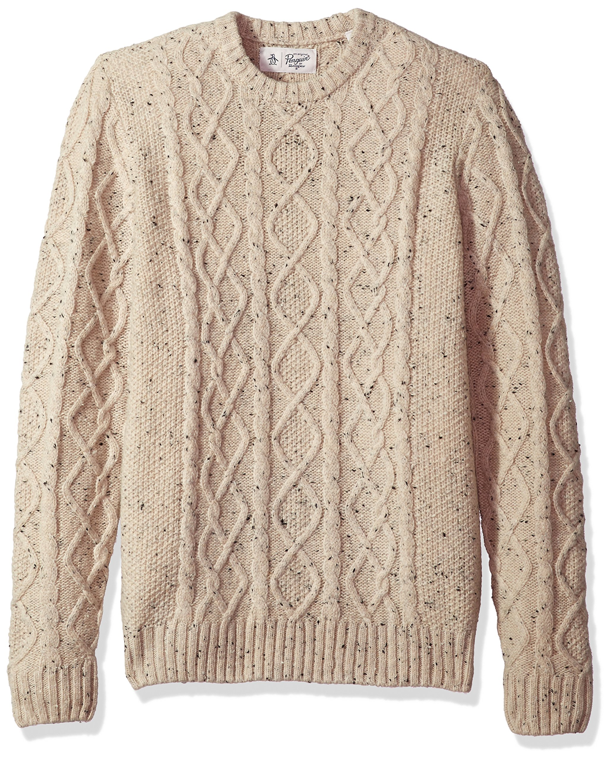 Original Penguin Men's Wool Alpaca Crew Sweater, Oatmeal, Medium