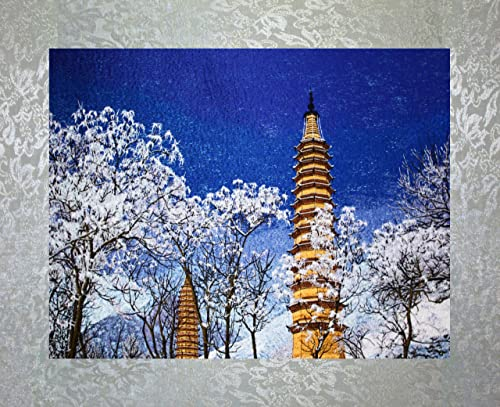 PEA Designs, Twin Pagodas in Winter Wall D cor, Chinese Su Embroidery Pattern, Timeless Wall Hanging Artwork, Elegant Needlepoint Tapestry, Traditional Wall Art for Room Decoration, Unique Housewarming Gift Idea, 28-7 64 x 20-5 16