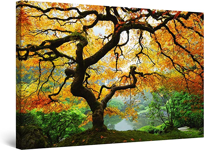 Startonight Canvas Wall Art - Maple Tree, Nature Framed 32 x 48 Inches