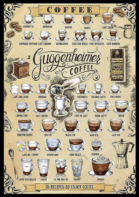 Café Póster - Cartel de café - 35 Recetas de café - 35 Recipes to Enjoy Coffee - Impreso de 50 x 70 cm