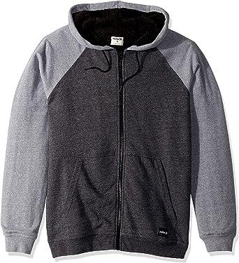Hurley Boys Sherpa Fleece Lined Full Zip Jacket Medium Grey Heather