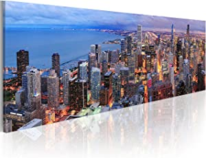 """artgeist Canvas Wall Art Print City Chicago 120x40 cm / 47.2""""x15.7"""" 1 pcs Home Decor Framed Stretched Picture Photo Painting Artwork Image Skyline 9020121"""