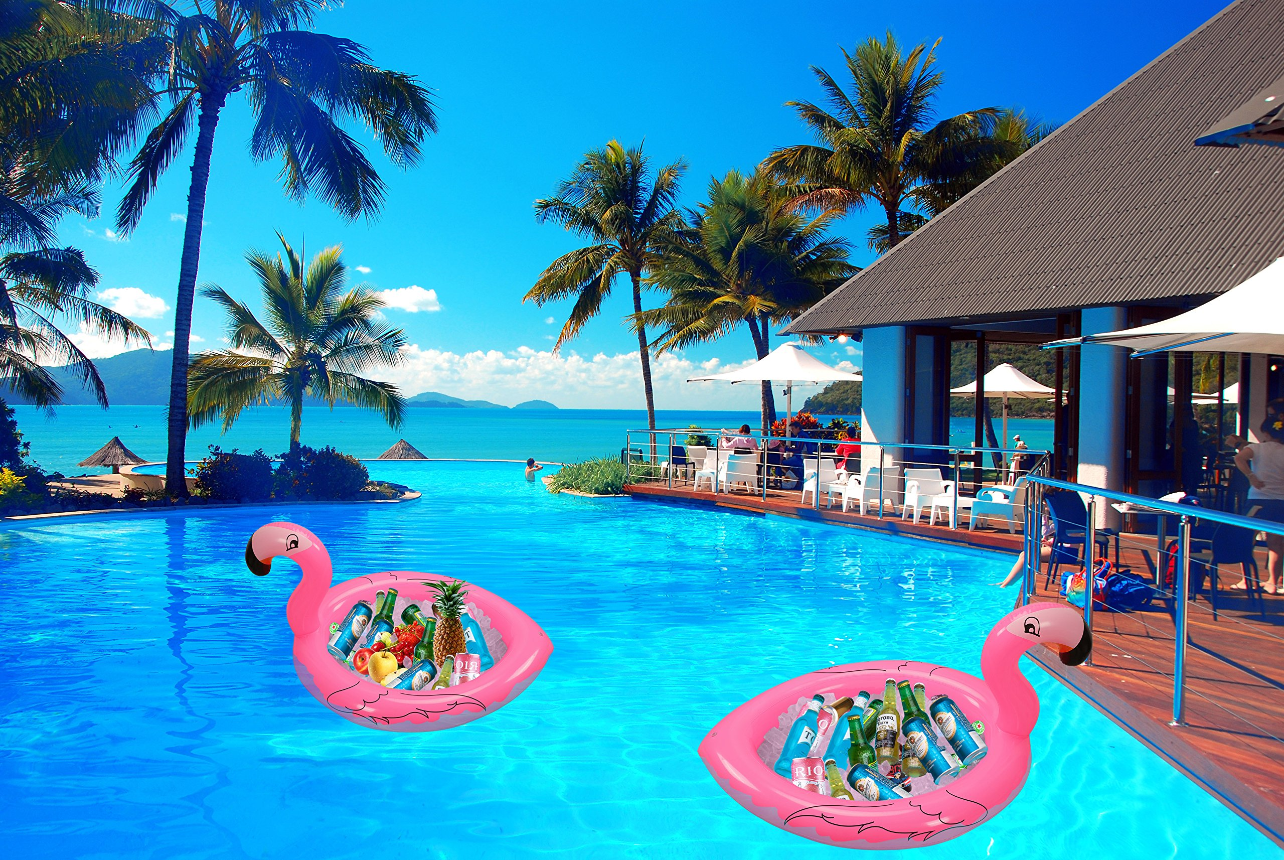 Inflatable Flamingo Cooler Salad Buffet Serving Bar Tray Ice Chest Drink Holders for BBQ Picnic Pool Flamingo Beach Bachelorette Hawaiian Luau Party Supplies Decorations