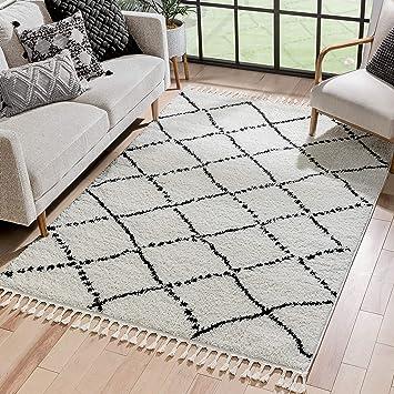 Well Woven Melody Patli Ivory Moroccan Trellis Shag 5 3 X 7 3 Area Rug Furniture Decor