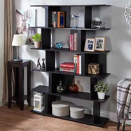 Amazoncom Furniture of America Lian Modern Black Open Shelf