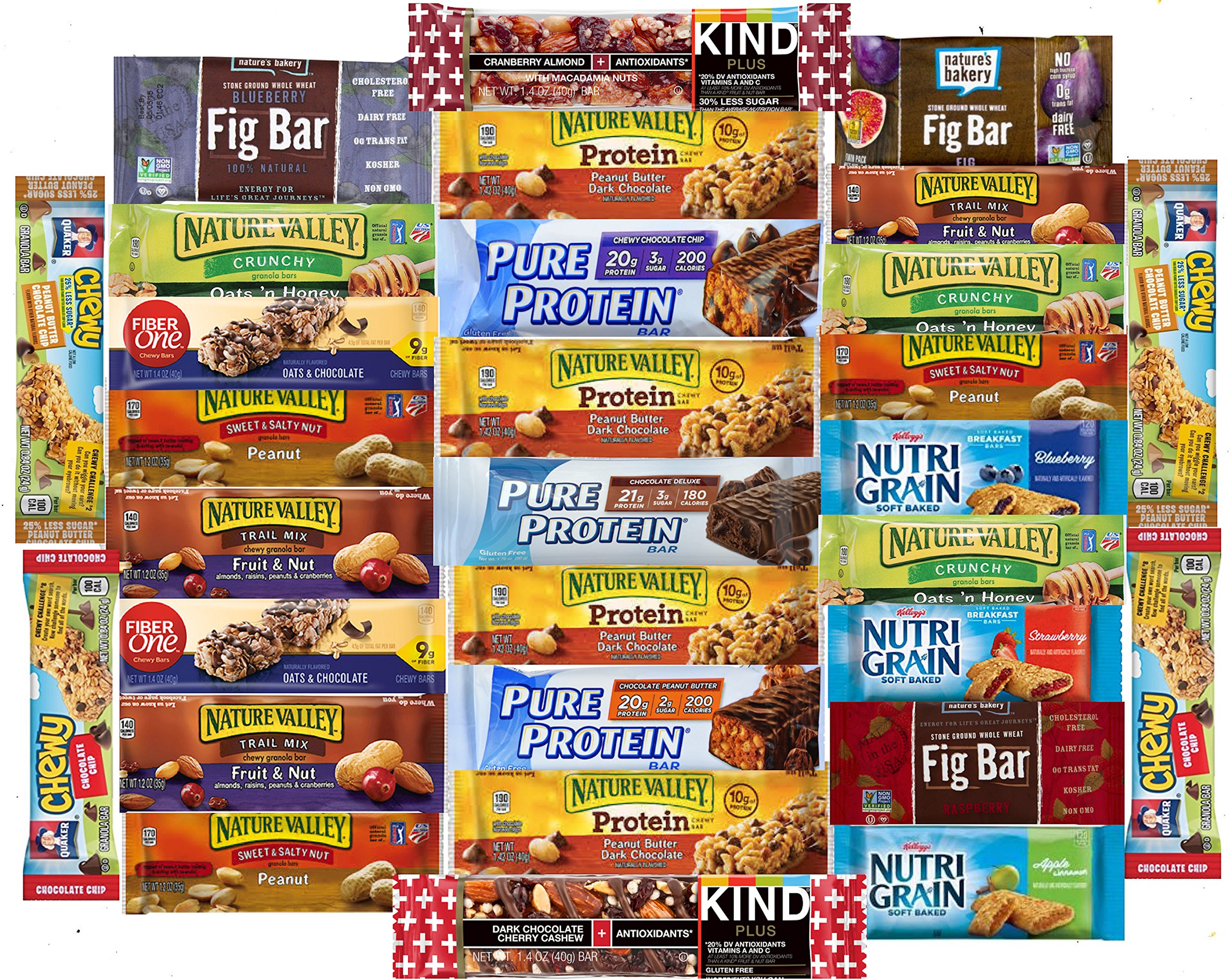Fitness Box - Protein & Healthy Granola Bars Sampler Snack Box (30 Count) - Care Package - Gift Pack - Variety of Fitness, Energy Bars and KIND Bars. by LA Signature