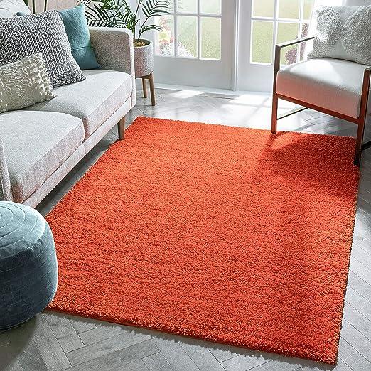 Amazon Com Solid Retro Modern Orange Shag 3x5 3 3 X 5 3 Area Rug Plain Plush Easy Care Thick Soft Plush Living Room Kids Bedroom Home Kitchen