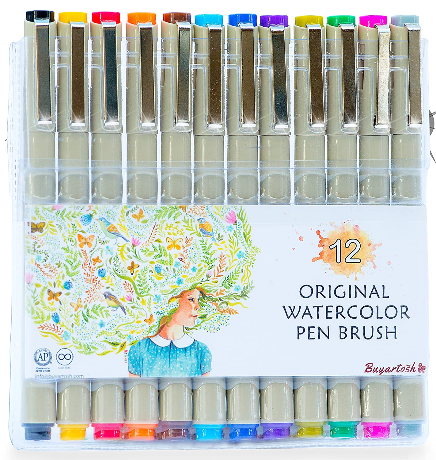 watercolor Brush Pens by Buyartosh: 12 Watercolor pen & Markers with Flexible Tips and Caps plus Case and Ebook for Coloring, Writing, Sketching, and Drawing 6225113