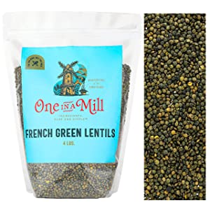 One in a Mill French Green Le Puy Dry Lentils 4lb Bulk Resealable Bag   All-Natural Plant-Based Protein for Soups, Salads, & Stews   Non-Irradiated & Sproutable   Vegan, Certified Kosher