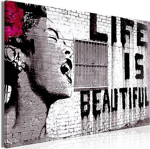 artgeist Canvas Wall Art Mega XXXL Extra Large Banksy 64.9″ x 43.3″ Canvas Prints Self-Assembly DIY Home Decor Big Picture Photo Painting Artwork Image Life is Beautiful i-C-0114-ak-a
