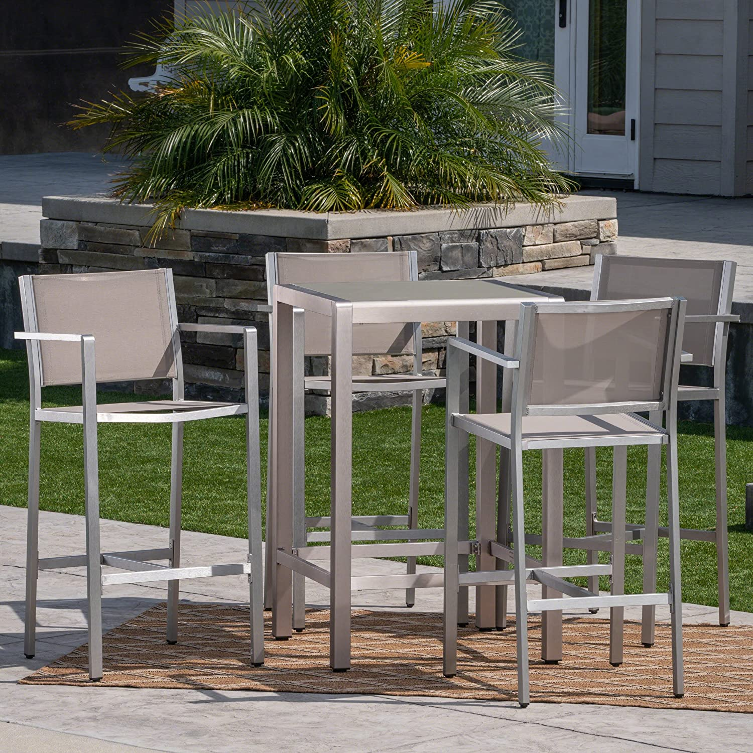 Christopher Knight Home Great Deal Furniture Tracy Outdoor 5 Piece Rust Proof Aluminum Mesh Bar Set With Glass Top Table In Silver Grey Garden Outdoor