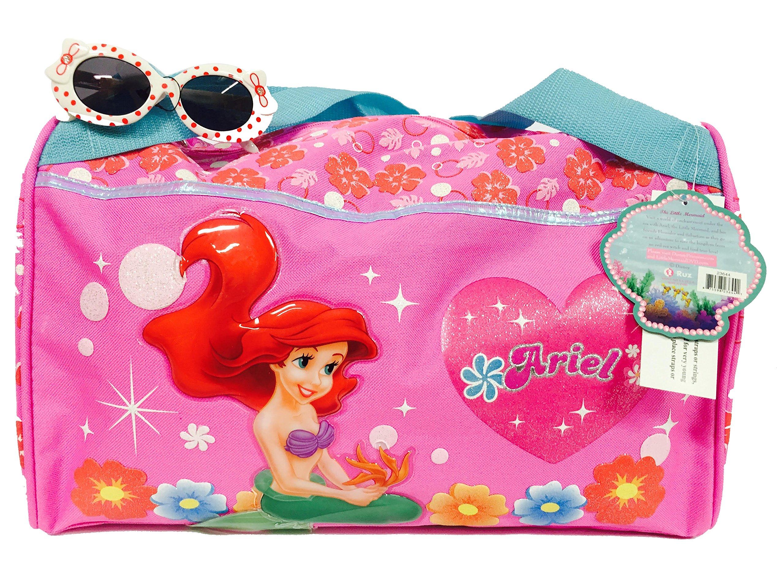 Disney Little Mermaid Ariel Duffle Gym Diaper Bag and One Stylish Sunglasses Set
