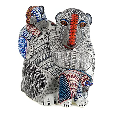 MOTHER BEAR WITH BABY BEARS Oaxacan Alebrije Wood Carving Handcrafted Fine Mexican Folk Art Sculpture