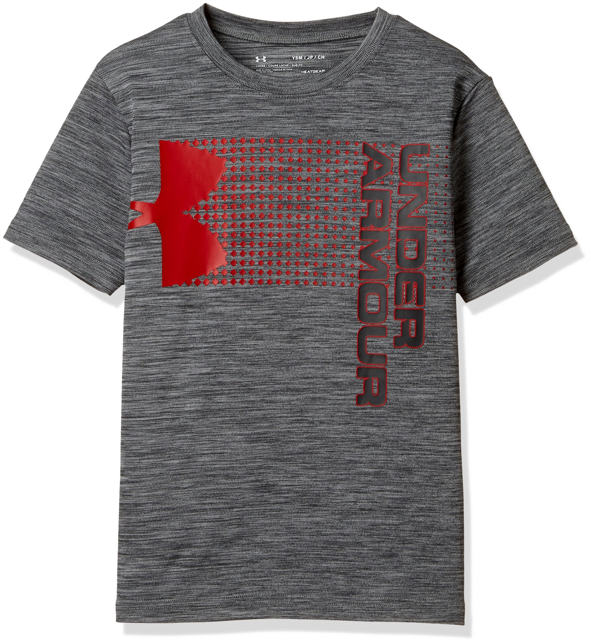 Under Armour Kids Boy's Crossfade Tee (Big Kids) Stealth Gray/Red/Stealth Gray Small by Under Armour (Image #1)