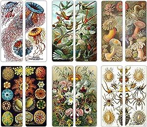 Creanoso Ernst Haeckel Unique Bookmarker Bulk Series 1 (60-Pack) - Art Forms from Nature - Sea Creatures Botanical Birds Species - Premium Quality Sturdy Bookmarks