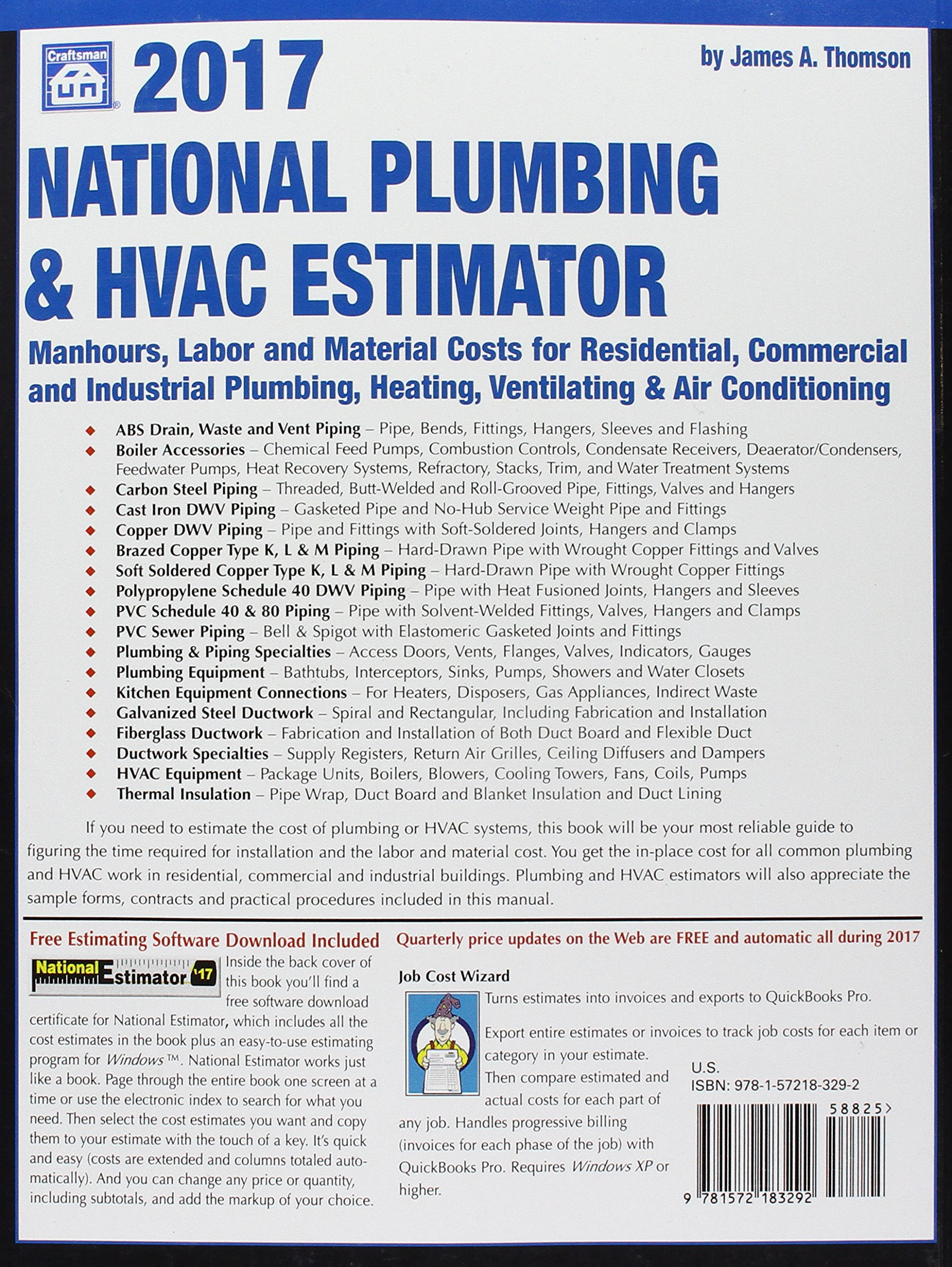 2017 national plumbing hvac estimator james a thomson 9781572183292 books amazonca - Hvac Estimator