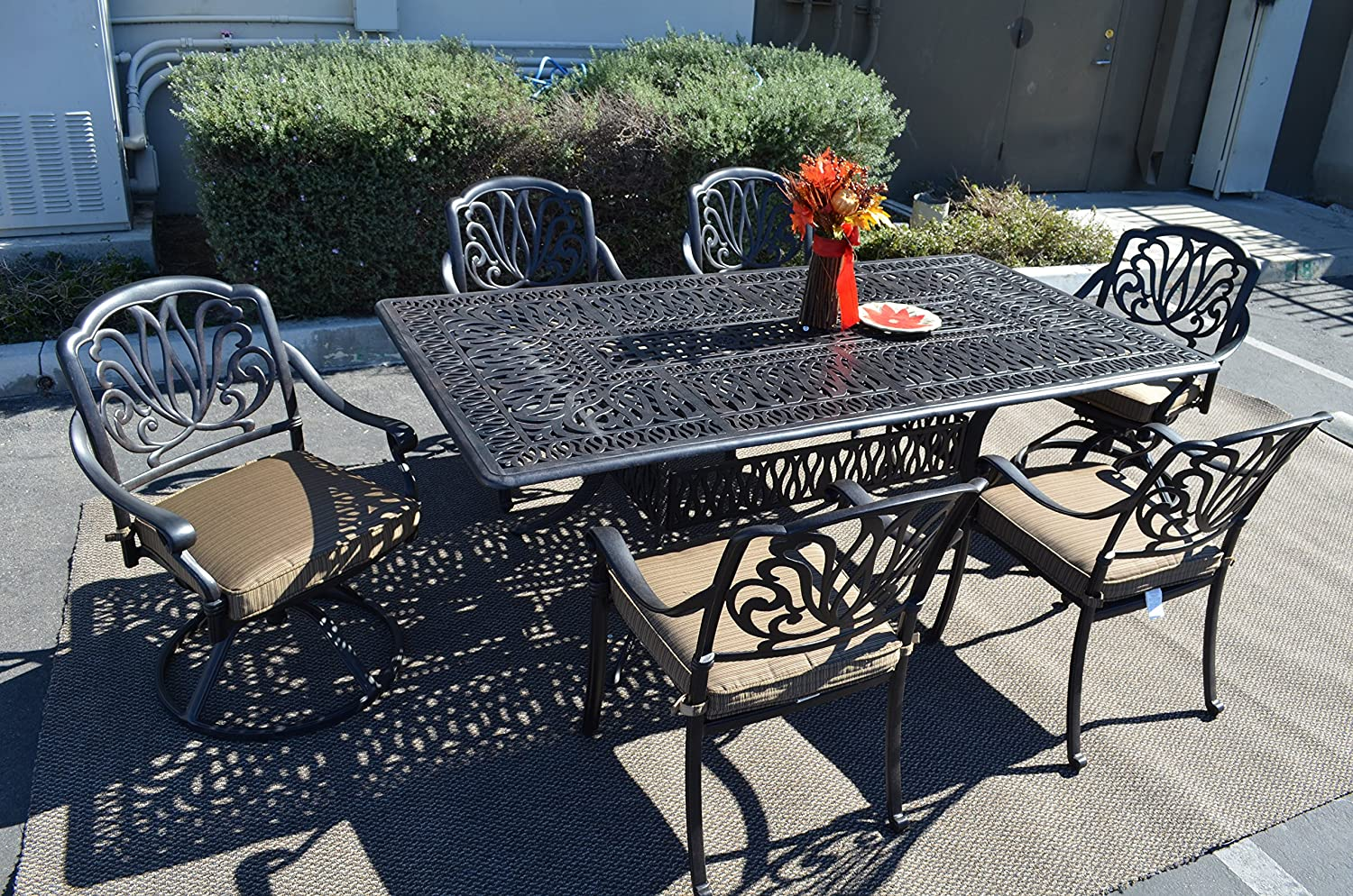 Elizabeth Outdoor Patio 7 pc Dining Set 44 X 84 Cast Aluminum Walnut