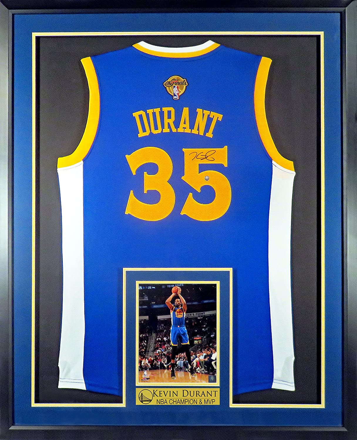 """Amazon.com  GS Warriors Kevin Durant Autographed Road Blue Jersey w Finals  Patch (w  """"NBA CHAMP   MVP"""" Plate) Framed  Sports Collectibles 7dfbafda3"""