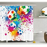Sports Decor Shower Curtain Set By Ambesonne, Colored Splashes All Over The  Soccer Balls Score
