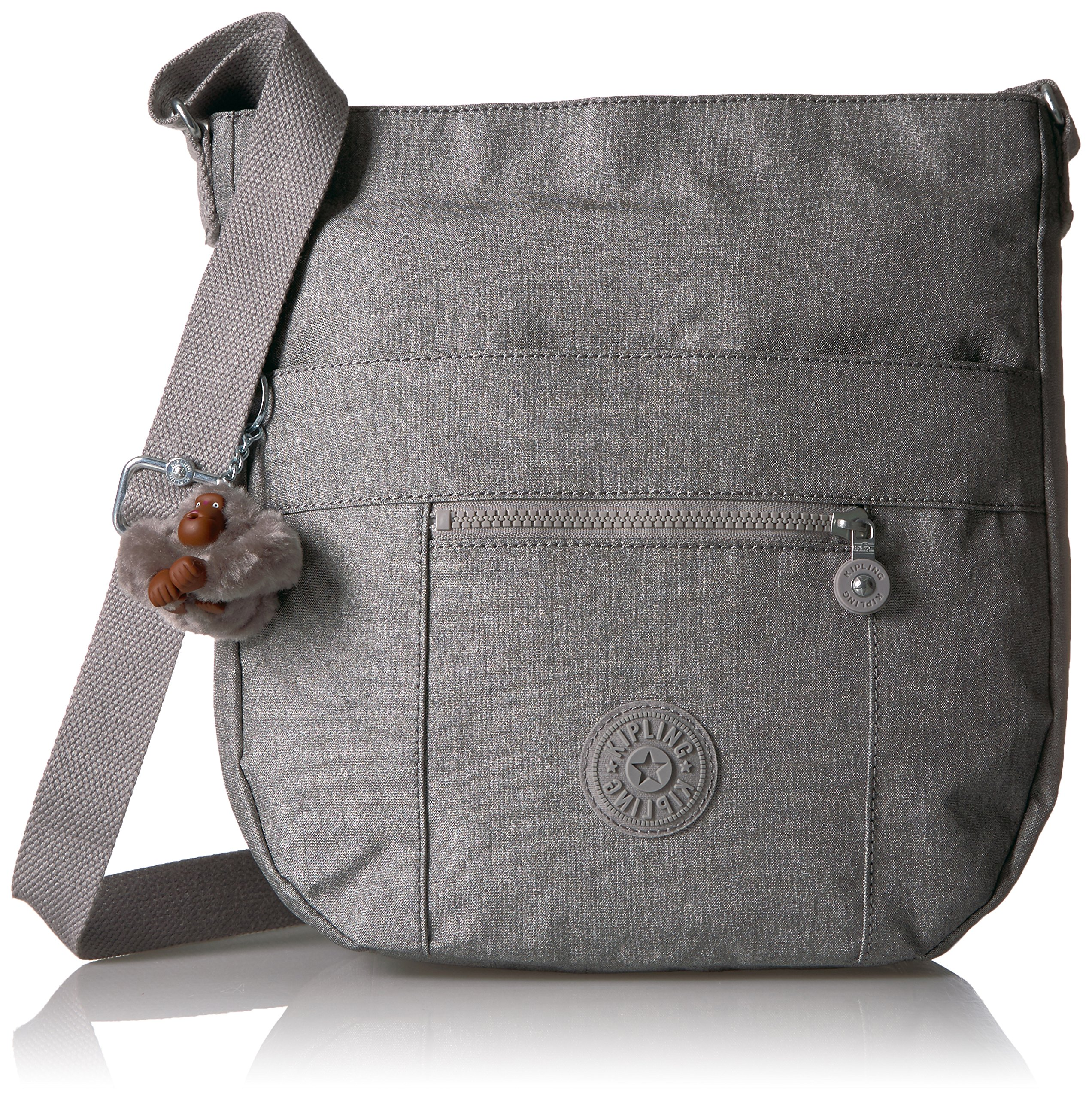 Kipling Bailey Metallic Crossbody Hobo Bag, Silver Glimmer Metallic